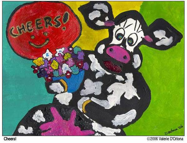 Cheers! greeting card set of 6 - Cow Art and More
