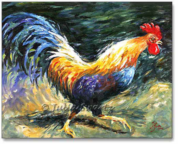 Rooster on the Run - Cow Art and More