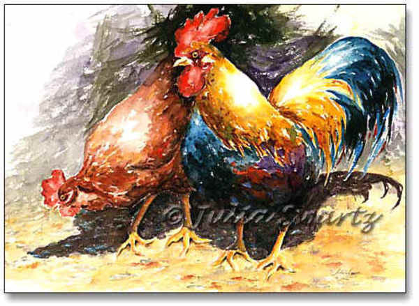 Rooster and Hen - Cow Art and More