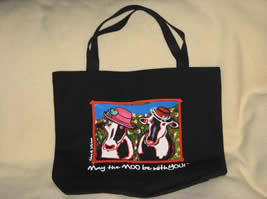 May the MOO be with YOU! tote bag - Cow Art and More