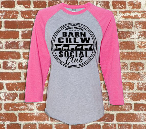 Barn crew social club raglan shirt - Cow Art and More