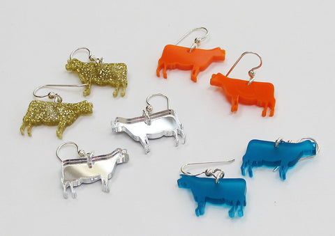 Colored cow earrings