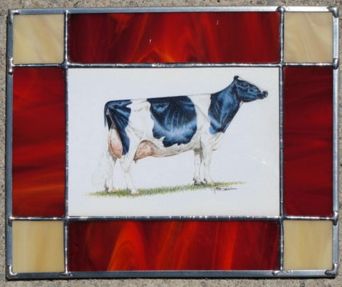 Stained glass hanging piece with cow portrait