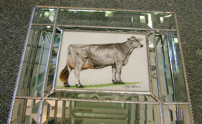 Stained glass cow art