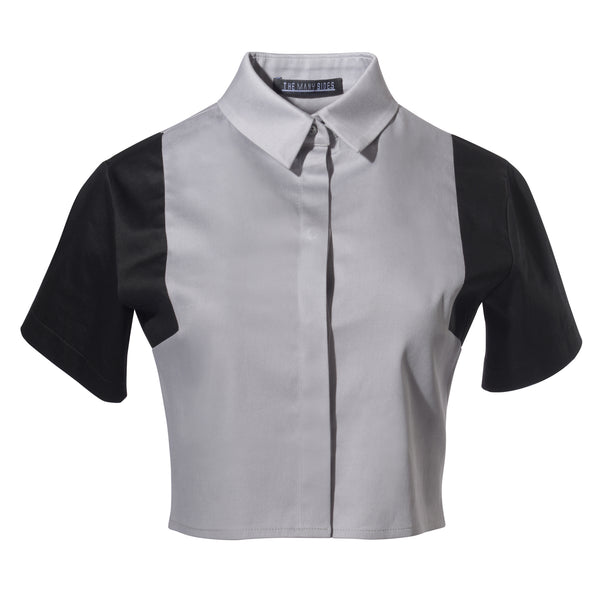 Division Colour Block Cropped Shirt