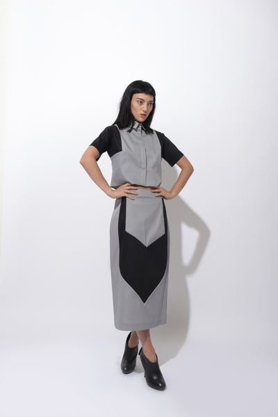 Division Colour Block Mid Pencil Skirt