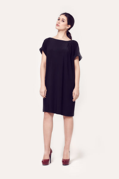 Nish Black Draped Jersey Dress