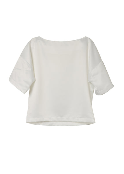 Isabella White Satin Boxy Top