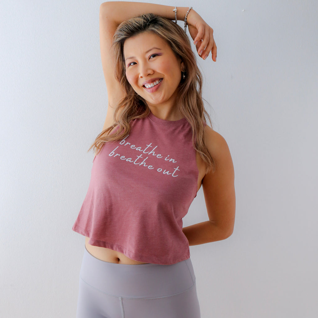 Ko Im Breathe In Breathe Out Racerback Crop Tank by Alexis Mera