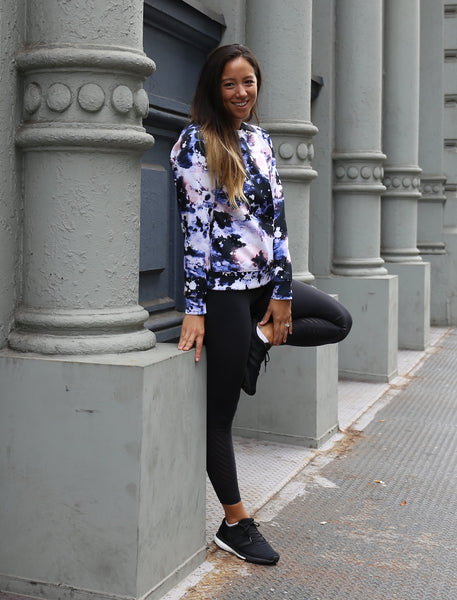 Sarah Levey in Alexis Mera's Cosmic Night Sweatshirt, Soho NY
