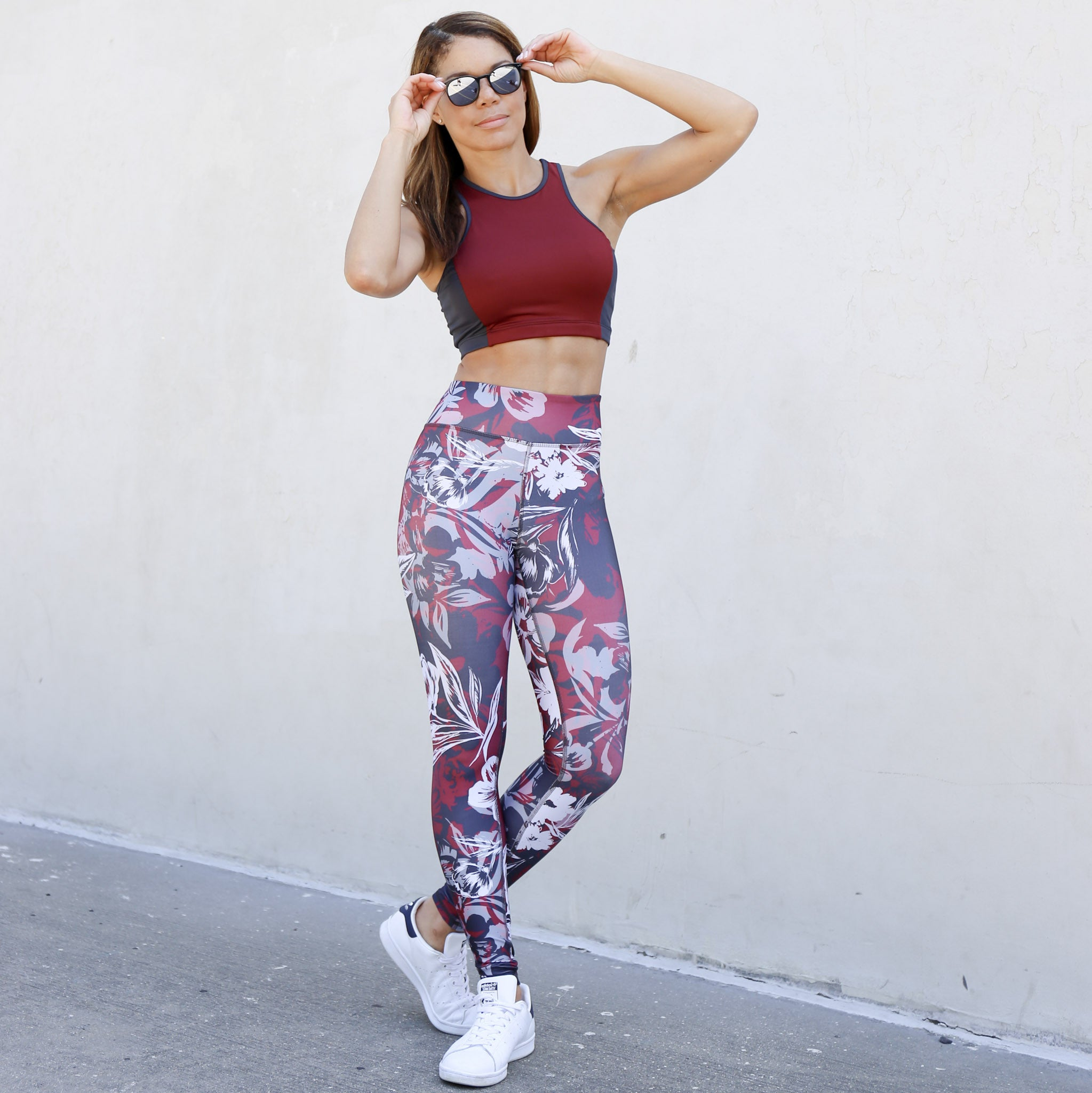 High Rise Legging in Mulberry Floral