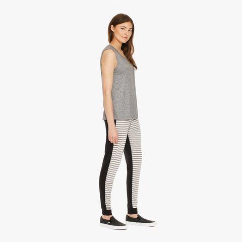 Grey Tank and Striped Jogger Pants