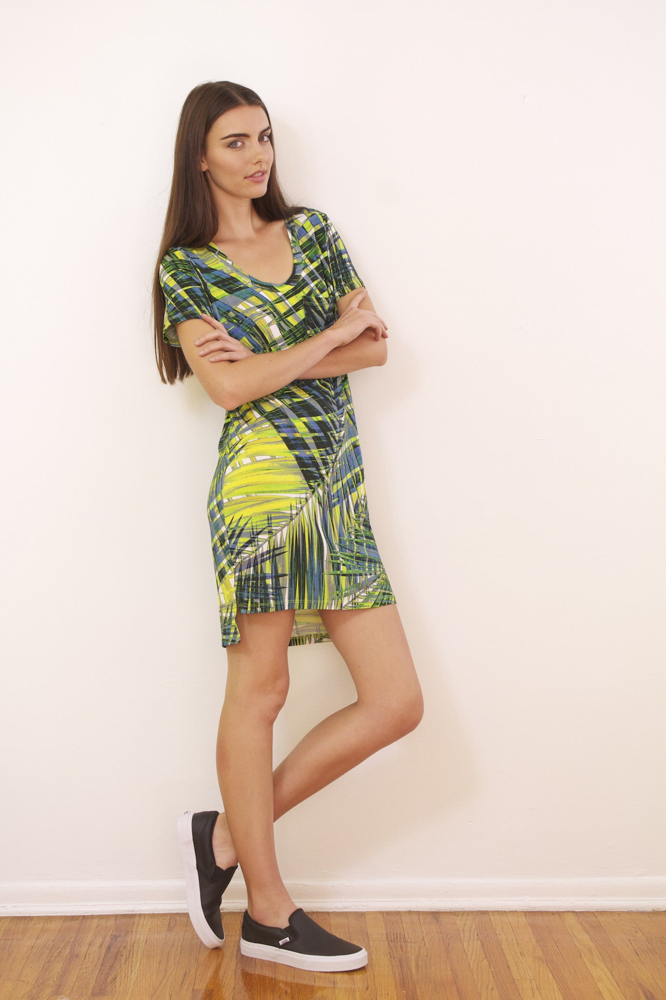 Dorchester T-Shirt Dress in Rio Palm Print