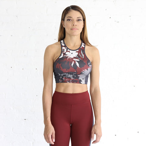 Crop Bra in Merlot Floral & Anthracite