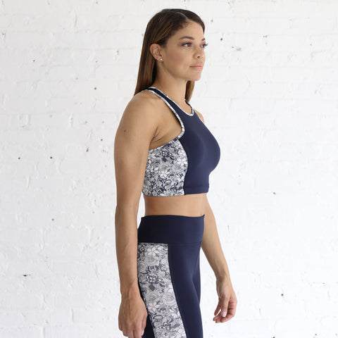 Crop Bra in Navy & White Floral
