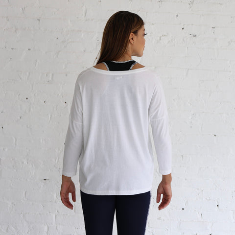 Long Sleeve Slouchy Tee in White