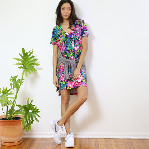 Dorchester T-Shirt Dress in Pink Tropics Print