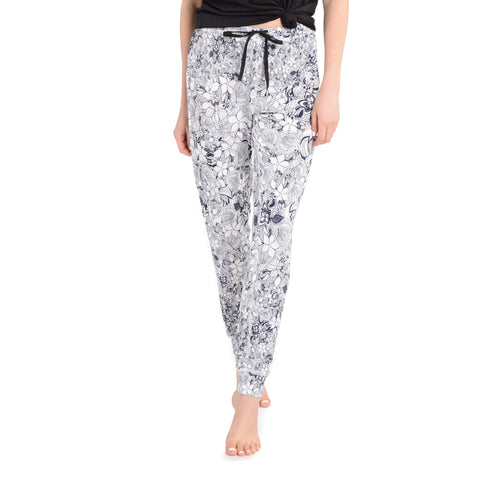 Jogger Pants in Navy & White Floral