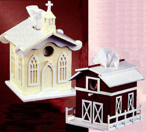 Church & Barn Tissue Box Cover Patterns - scroll saw patterns and projects