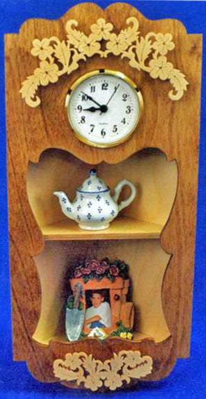 Corner Shelf With Clock Pattern