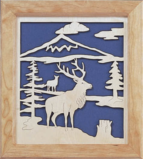 Elk in Wilderness Fretwork Pattern