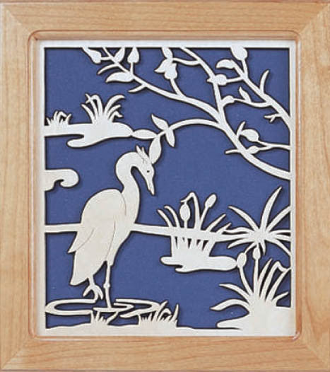Heron in the Marsh Fretwork Pattern - scroll saw patterns and projects