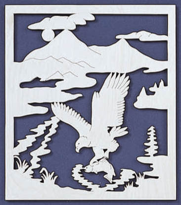 Eagle Fishing Fretwork Pattern - scroll saw patterns and projects