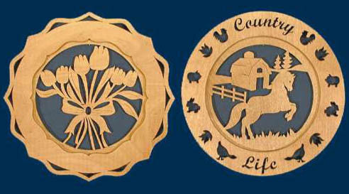Country Themed Plates Fretwork Patterns - scroll saw patterns and projects