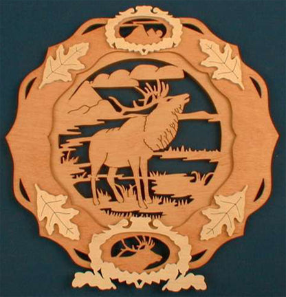 Elk Collector Plate Fretwork Pattern