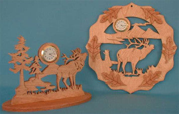 Elk Mini Clock Patterns - scroll saw patterns and projects