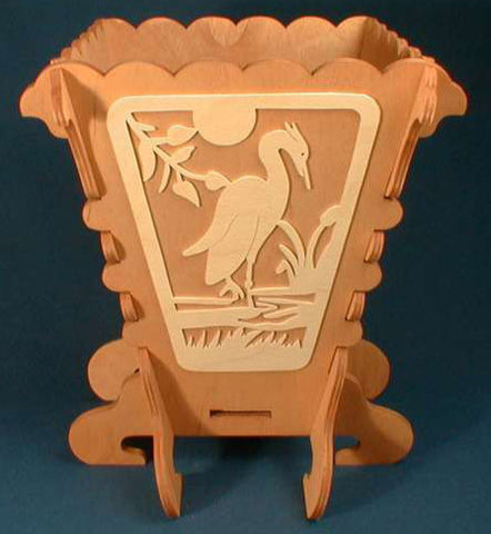 Heron Waste Bin Pattern - scroll saw patterns and projects