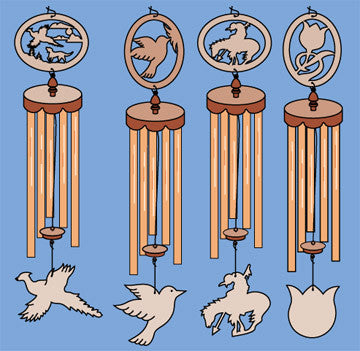 Set of 4 Windchime Patterns - scroll saw patterns and projects
