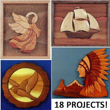 Intarsia Scroll Saw Patterns Collection on Wooden USB - scroll saw patterns and projects