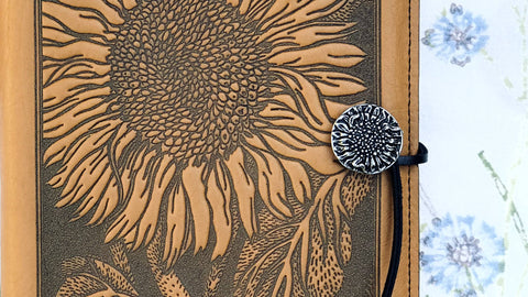 Refillable Leather Journal, Sunflower in Marigold