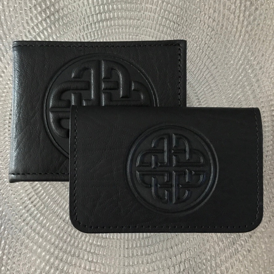 Leather Celtic Love Knot embossed men's wallet and card holder mini wallet square