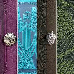 Angel and Pine Cones Leather Covers by Oberon Design