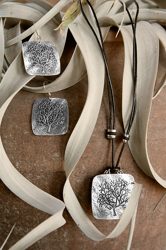 Britannia Metal Jewelry Rune Tree Necklace and Earrings