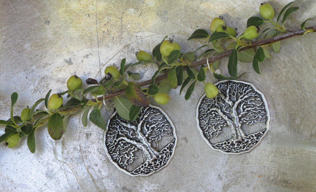 Tree of Life Britannia Metal Earrings