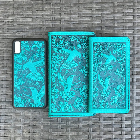 Leather iPhone Case and Smartphone Wallets, Hummingbird in Teal by Oberon Design