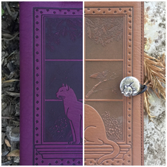 Cat in Window Leather Journal Cover
