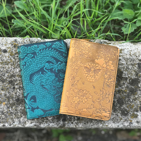 Cloud Dragon and Bee Garden Leather Pocket Notebook Covers by Oberon Desing