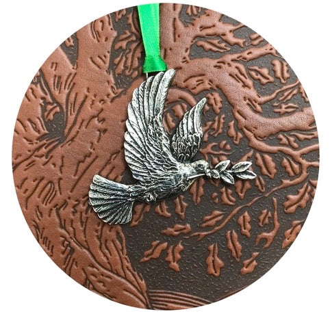 Oberon Design embossed Leather Journal and Britannia Metal Peace Dove Ornament round