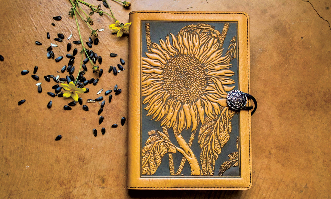 Oberon Design Leather Journal Cover - Sunflower in Marigold
