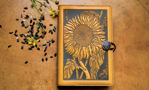 sunflower leather refillable journal