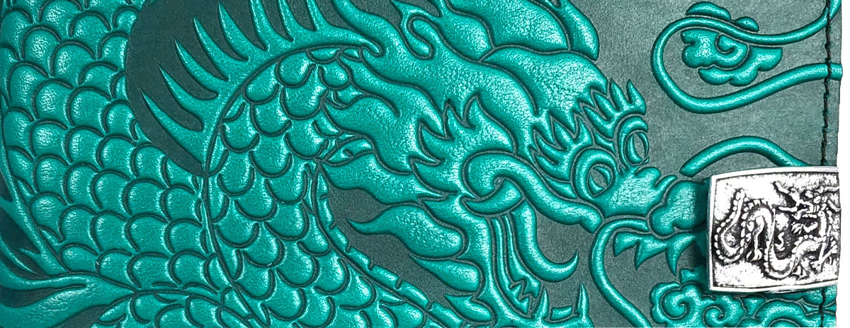 Leather Case for KIndle Oasis, Cloud Dragon in Teal