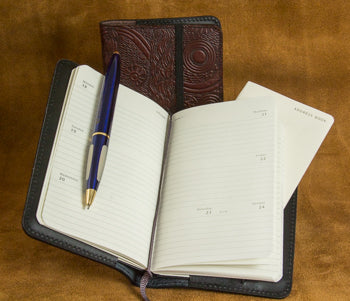 Leather Pocket Notebook Cover with Moleskine Planner and Address Book