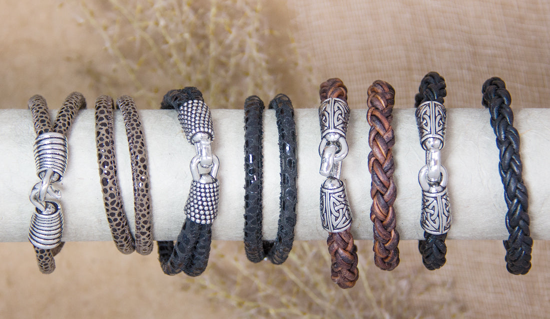 Leather and Britannia Metal Bracelets