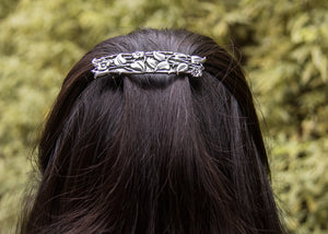 Periwinkle Hair Clip - Hand Crafted Metal Barrette Made in the USA with imported French Clips By Oberon Design