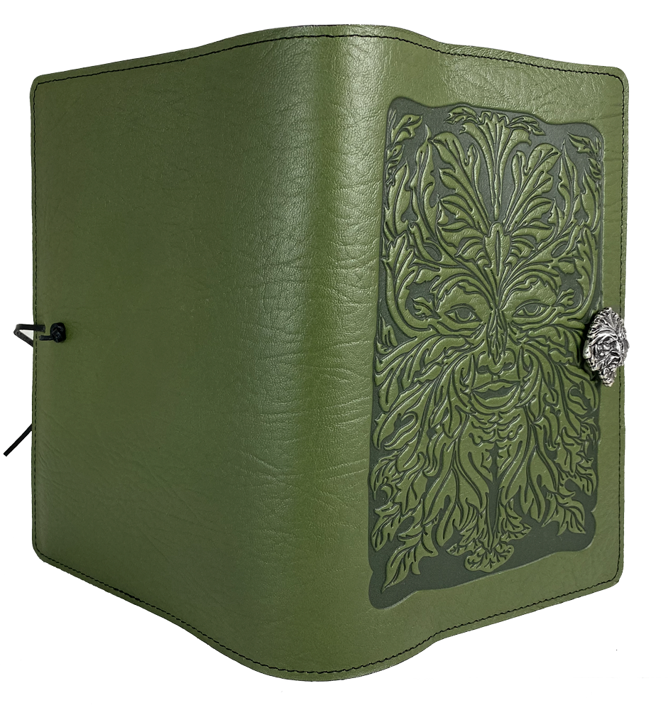 Archive Special Green Man, Large Notebook Cover with Pen Loop in Fern