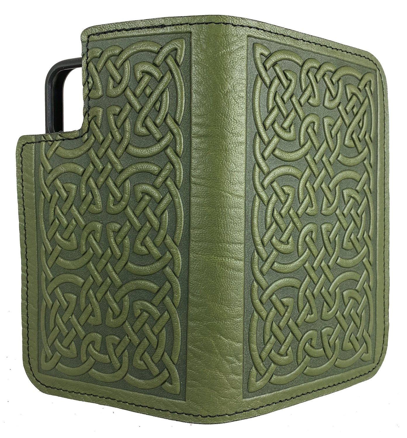iPhone PRO MAX Leather Wallet Folio Case, Bold Celtic in Fern